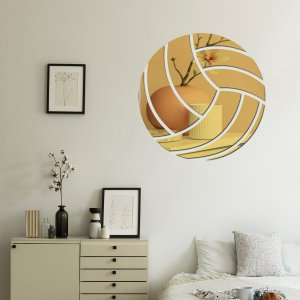 9шт Наклейка на стену с зеркальной поверхностью в форме волейбола SHEIN. Цвет: золотистый