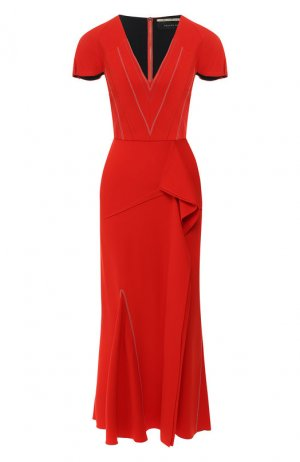 Платье-миди с оборкой Roland Mouret. Цвет: красный