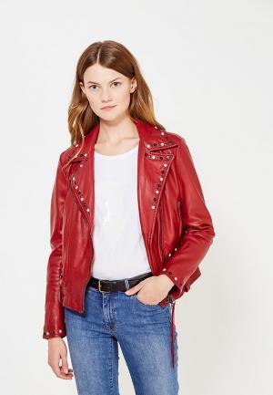 Куртка кожаная Blouson. Цвет: бордовый