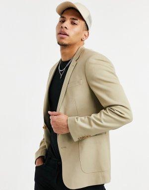 Бежевый супероблегающий костюмный пиджак из летней свадебной коллекции -Нейтральный ASOS DESIGN