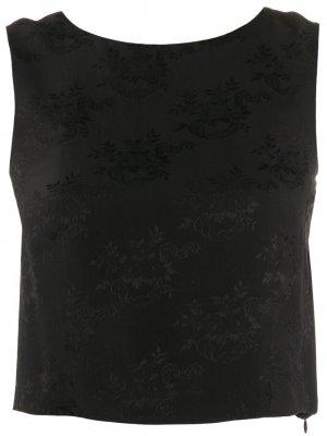 Жаккардовый топ 2000-х годов с цветочным принтом Christian Dior Pre-Owned. Цвет: черный