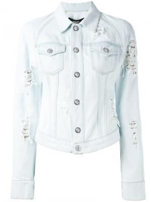 Рваная джинсовая куртка Versus. Цвет: синий
