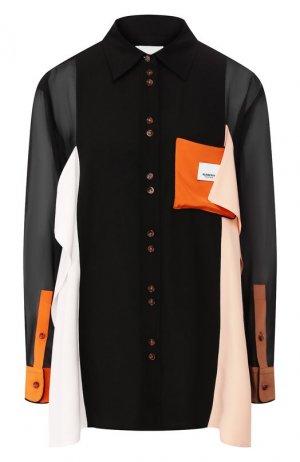 Шелковая рубашка Burberry. Цвет: черный