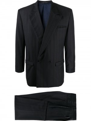Костюм 1980-х годов в тонкую полоску с двубортным пиджаком Versace Pre-Owned. Цвет: коричневый