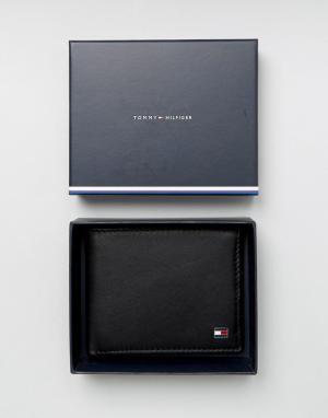 Черный кожаный бумажник двойного сложения Eton Tommy Hilfiger