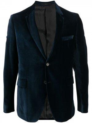 Бархатный однобортный пиджак Paul Smith. Цвет: синий