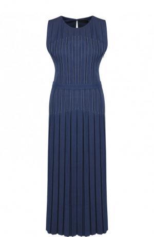 Приталенное джинсовое платье-миди Loro Piana. Цвет: синий