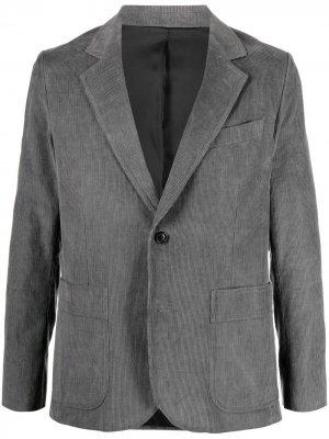 Однобортный вельветовый пиджак AMI Paris. Цвет: серый