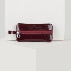 Ключница, длина 12 см, отдел на молнии, металлическое кольцо, цвет бордовый TEXTURA