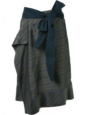 Полосатая юбка A.F.Vandevorst. Цвет: зеленый
