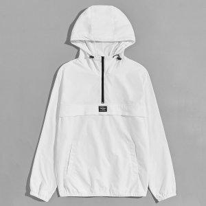 Мужская куртка-анорак с карманом SHEIN. Цвет: белый