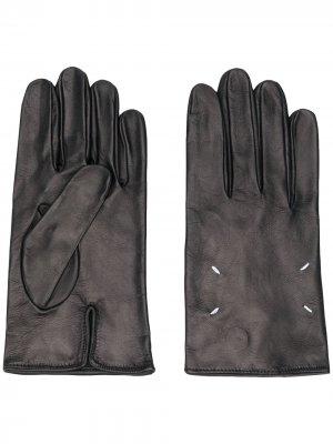 Перчатки с декоративной строчкой Maison Margiela. Цвет: черный