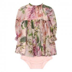 Комплект из платья и шорт Dolce & Gabbana. Цвет: розовый