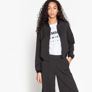 Куртка-бомбер в горошек LA REDOUTE COLLECTIONS. Цвет: черный