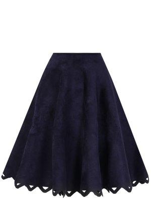 Расклешенная юбка-миди ALAIA. Цвет: синий