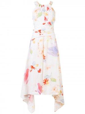 Платье миди с вырезом халтер Peter Pilotto. Цвет: белый