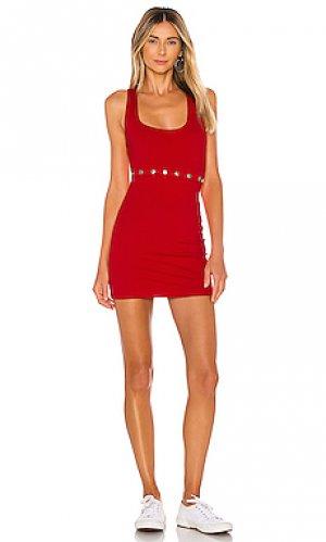 Мини платье на кнопках gabby superdown. Цвет: красный