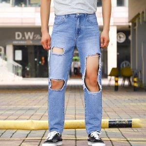 Мужской Джинсы с прямыми штанинами разрезом обтрепанный край SHEIN. Цвет: синий цвет средней стирки