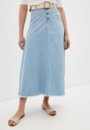 Юбка джинсовая Francesco Donni. Цвет: голубой