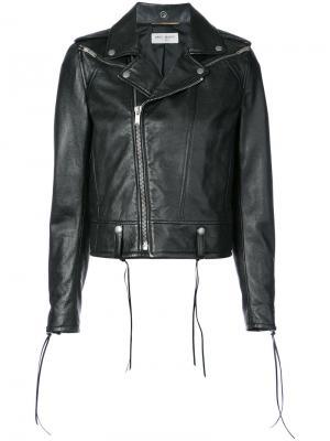 Классическая байкерская куртка Saint Laurent. Цвет: черный