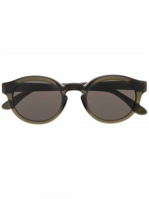 Солнцезащитные очки в круглой оправе Han Kjøbenhavn. Цвет: зеленый