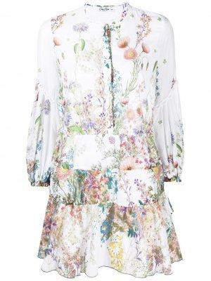 Платье мини с принтом Charo Ruiz Ibiza. Цвет: белый