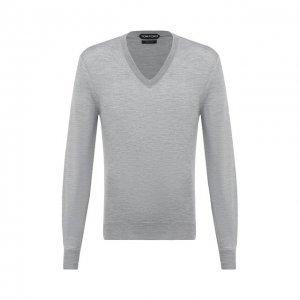 Пуловер из кашемира и шелка Tom Ford. Цвет: серый