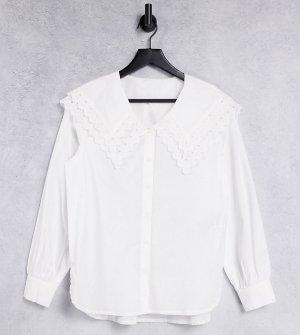 Белая рубашка с большим воротником PIECES Maternity-Белый Maternity