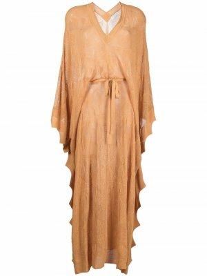 Вязаное платье макси с драпировкой SANDRO. Цвет: оранжевый