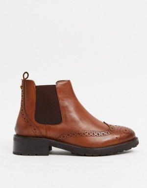 Ботинки-челси на плоской подошве из светло-коричневой кожи с декоративной перфорацией -Коричневый Dune