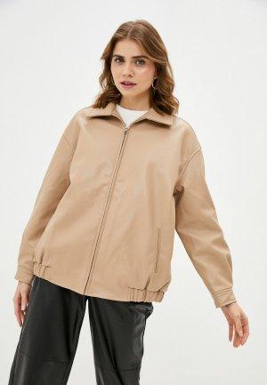 Куртка кожаная Top. Цвет: бежевый