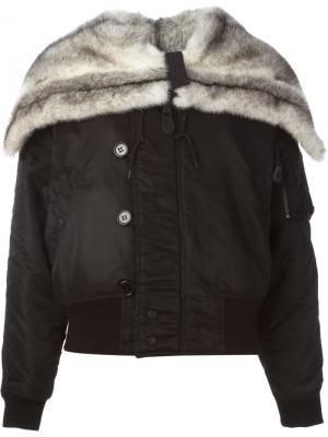 Куртка-бомбер с отделкой из норкового меха Liska. Цвет: чёрный
