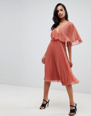 Платье миди с рукавами клеш и плиссированной юбкой -Коричневый ASOS DESIGN