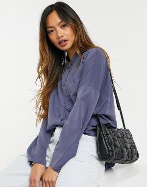 Голубая рубашка из крепа с воротником -Голубой French Connection