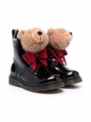 Bear-appliqué ankle boots Monnalisa. Цвет: черный