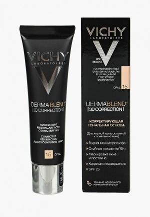 Тональное средство Vichy DERMABLEND 3D с высоким покрытием для жирной кожи, склонной к появлению акне, тон 15 30 мл. Цвет: бежевый