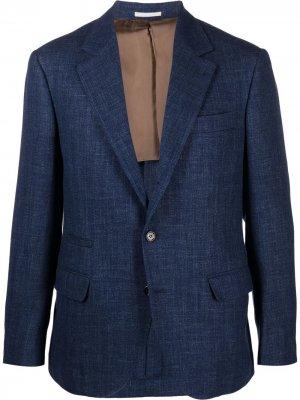Однобортный пиджак Brunello Cucinelli. Цвет: синий