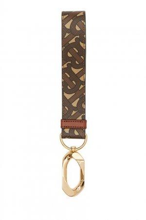 Коричневый брелок с монограммами Burberry. Цвет: коричневый