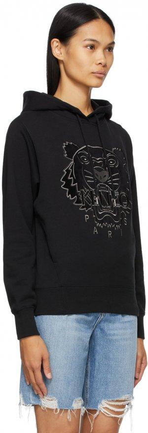 Black Velvet Tiger Head Hoodie Kenzo. Цвет: black