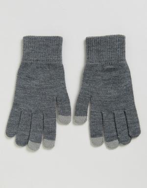 Перчатки для сенсорных гаджетов ASOS. Цвет: серый