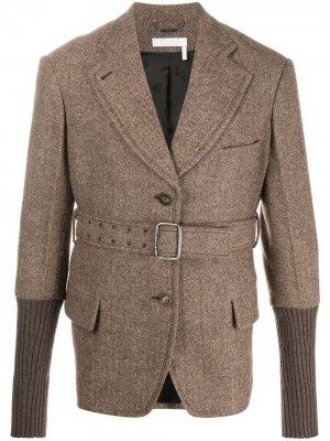 Однобортная куртка с поясом Chloé. Цвет: нейтральные цвета