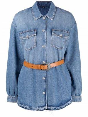 Джинсовая куртка с поясом LIU JO. Цвет: синий