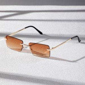 Мужские простые солнцезащитные очки без оправы SHEIN. Цвет: коричневые