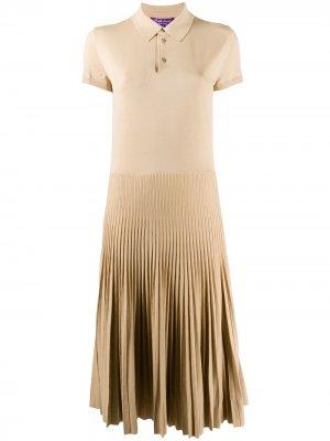 Трикотажное платье миди с воротником поло Ralph Lauren Collection. Цвет: нейтральные цвета