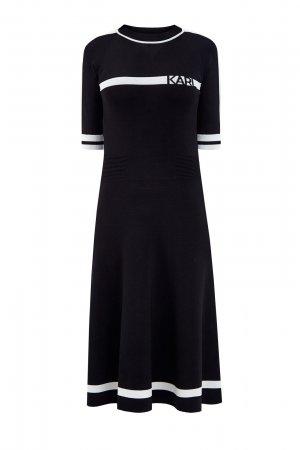 Трикотажное платье в стиле спортшик с интарсийным узором KARL LAGERFELD. Цвет: черный
