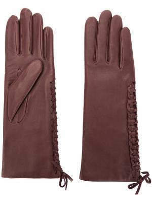 Перчатки со шнуровкой Agnelle. Цвет: красный
