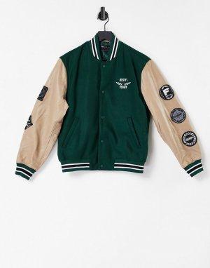 Зеленая кожаная куртка в университетском стиле с накладками и контрастными рукавами -Зеленый цвет ASOS DESIGN