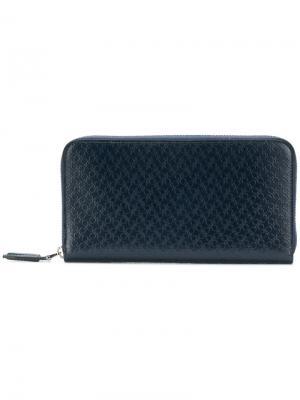 Double Gancio embossed wallet Salvatore Ferragamo. Цвет: синий