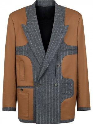 Пиджак со вставками в тонкую полоску Fendi. Цвет: коричневый