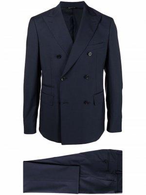 Костюм с двубортным пиджаком Tonello. Цвет: синий
